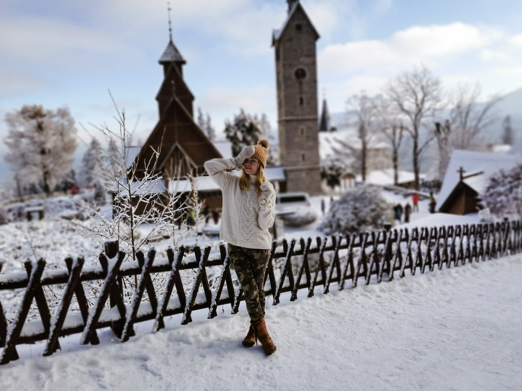 dolny Śląsk zimą świątynia Wang